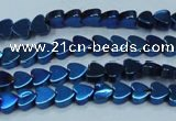 CHE996 15.5 inches 4*4mm heart plated hematite beads wholesale