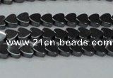 CHE998 15.5 inches 6*6mm heart hematite beads wholesale