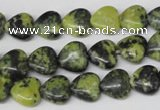 CHG12 15.5 inches 10*10mm heart yellow turquoise beads wholesale
