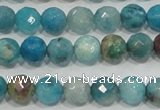 CHM212 15.5 inches 8mm faceted round blue hemimorphite beads
