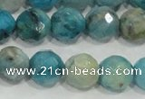 CHM215 15.5 inches 14mm faceted round blue hemimorphite beads