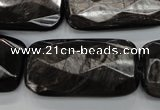 CHS40 15.5 inches 20*40mm faceted rectangle natural hypersthene beads