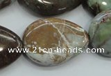 CJA05 15.5 inches 20*30mm teardrop green jasper beads wholesale