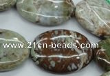 CJA23 15.5 inches 22*30mm oval green jasper beads wholesale