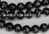 CJB152 15.5 inches 10mm round natural jet & pyrite gemstone beads