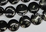 CJB158 15.5 inches 14mm flat round natural jet & pyrite gemstone beads