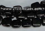 CJB59 15.5 inches 12*12mm square natural jet gemstone beads
