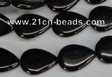 CJB69 15.5 inches 13*18mm flat teardrop natural jet gemstone beads