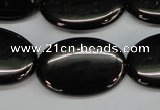 CJB73 15.5 inches 20*30mm oval natural jet gemstone beads