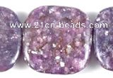 CKU09 15 inches 20*20mm square purple kunzite beads wholesale