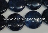 CKU138 15.5 inches 20mm flat round dyed kunzite beads wholesale
