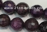 CKU26 15.5 inches 16mm faceted round purple kunzite beads wholesale