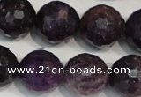 CKU27 15.5 inches 18mm faceted round purple kunzite beads wholesale