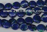 CLA410 15.5 inches 10mm flat round synthetic lapis lazuli beads