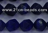 CLA84 15.5 inches 12mm faceted nuggets dyed lapis lazuli beads