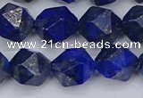 CLA89 15.5 inches 12mm faceted nuggets dyed lapis lazuli beads