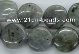 CLB107 15.5 inches 18mm flat round labradorite gemstone beads wholesale