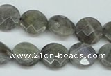 CLB191 15.5 inches 14mm faceted coin labradorite gemstone beads