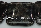 CLB308 15.5 inches 35*35mm square black labradorite gemstone beads