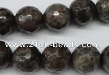 CLB405 15.5 inches 14mm faceted round grey labradorite beads