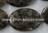 CLB417 15.5 inches 25*35mm faceted oval grey labradorite beads