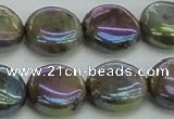 CLB636 15.5 inches 12mm flat round AB-color labradorite beads