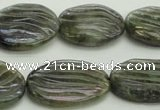 CLB668 15.5 inches 18*25mm carved oval AB-color labradorite beads