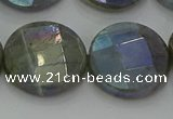 CLB681 15.5 inches 20mm faceted coin AB-color labradorite beads