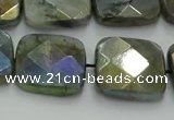 CLB689 15.5 inches 18mm faceted square AB-color labradorite beads