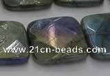 CLB691 15.5 inches 25mm faceted square AB-color labradorite beads