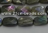 CLB696 15.5 inches 10*14mm faceted rectangle AB-color labradorite beads