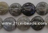 CLB737 15.5 inches 18mm flat round labradorite gemstone beads