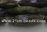 CLB789 15.5 inches 10*30mm faceted rice AB-color labradorite beads
