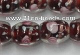 CLG878 15 inches 11*13mm oval lampwork glass beads wholesale