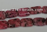 CLJ282 15.5 inches 10*14mm rectangle dyed sesame jasper beads wholesale