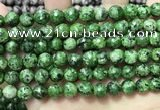 CLJ561 15.5 inches 6mm,8mm,10mm & 12mm faceted round sesame jasper beads