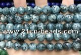 CLJ572 15 inches 10mm faceted round sesame jasper beads