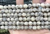 CLJ580 15 inches 8mm round matte sesame jasper beads