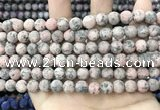 CLJ581 15 inches 8mm round matte sesame jasper beads