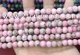 CLJ582 15 inches 8mm round matte sesame jasper beads