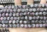 CLJ585 15 inches 8mm round matte sesame jasper beads