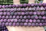 CLJ588 15 inches 8mm round matte sesame jasper beads