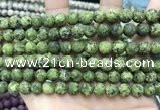 CLJ593 15 inches 8mm round matte sesame jasper beads