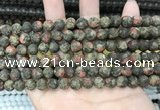 CLJ596 15 inches 8mm round matte sesame jasper beads