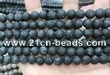 CLJ599 15 inches 8mm round matte sesame jasper beads