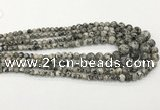 CLJ610 6mm - 14mm round sesame jasper graduated beads
