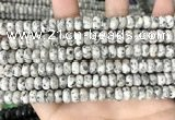 CLJ620 15 inches 5*8mm faceted round sesame jasper beads