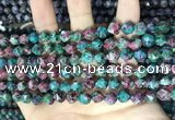 CLJ628 15 inches 8mm faceted nuggets sesame jasper beads