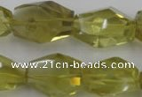 CLQ175 14*20mm – 16*28mm faceted nuggets natural lemon quartz beads