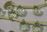CLQ250 Top-drilled 8*12mm faceted teardrop natural lemon quartz beads
